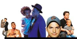 David Beckham, Robbie Williams, Jay Z, Ashton Kutcher and Mark Wahlberg with their children