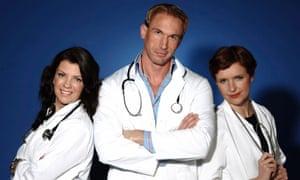 Christian Jessen with television co-presenters Dawn Harper, left, and Pixie McKenna.