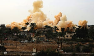 Smoke rises during a military operation by Egyptian security forces in Rafah