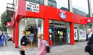 Phones 4u goes into administration, London, Britain - 17 Sep 2014