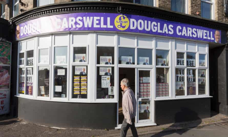 The Ukip byelection office in Clacton, where Tory defector Douglas Carswell won the first seat for the party.