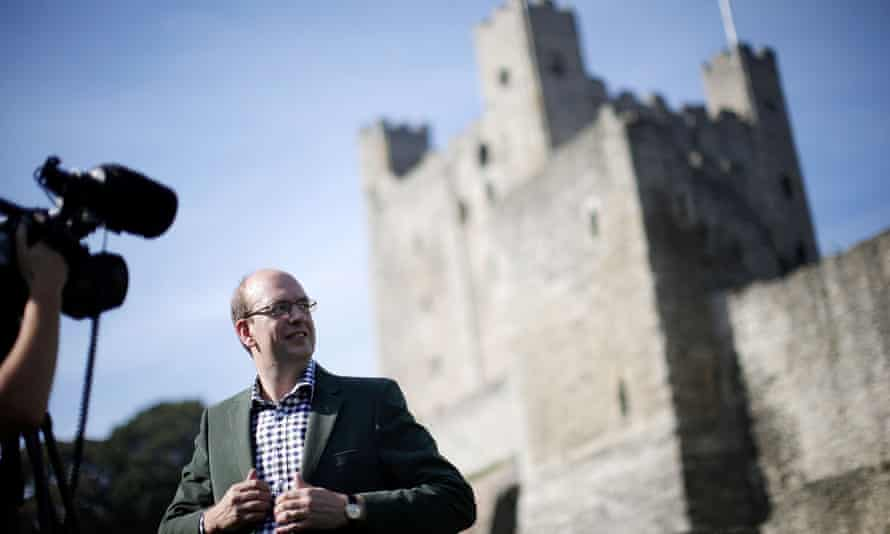 Mark Reckless talks to the media outside Rochester Castle the day after announcing his defection from the Conservatives to Ukip in September.