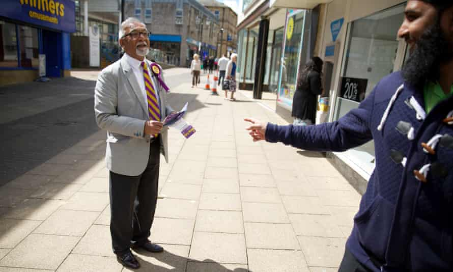 Amhad Bashir campaigns in Keighley, West Yorkshire, ahead of the European elections in May.