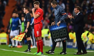Liverpool's Steven Gerrard comes on in Madrid