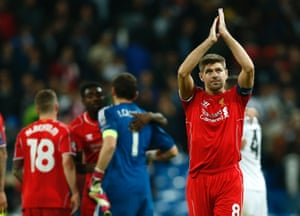 Liverpool's Steven Gerrard applauds the crowd after the final whistle