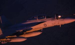 A Royal Australian Air Force (RAAF) F/A-18F Super Hornet over Iraq