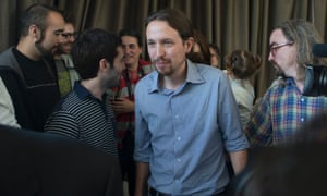 Pablo Iglesias, the leader of the leftist Podemos (We Can) party leaves a news conference in Madrid, Spain.