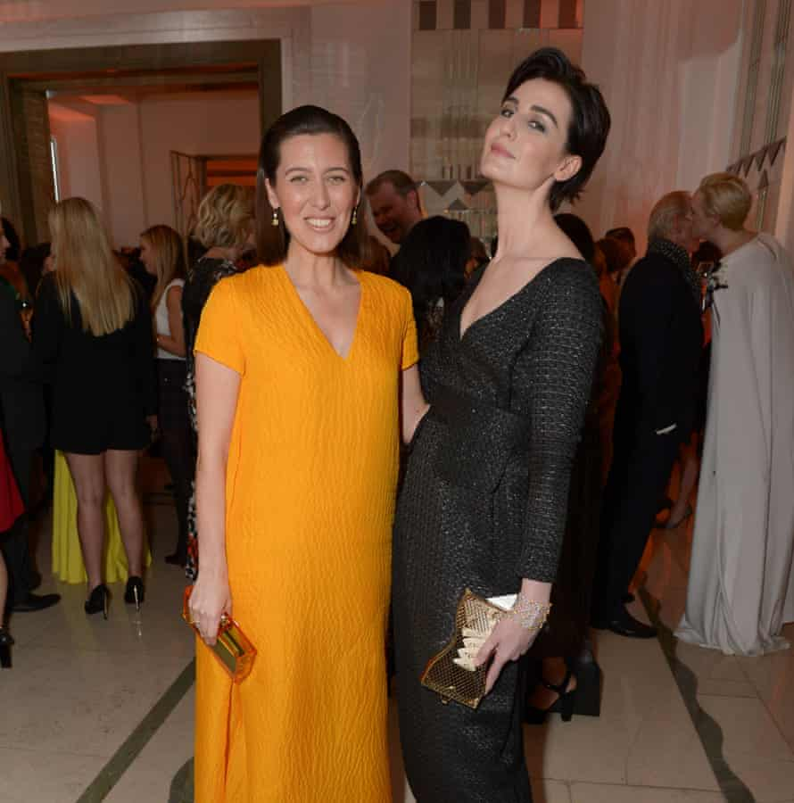 Emilia Wickstead and Erin O'Connor at the Harper's Bazaar Woman of the Year Awards yesterday