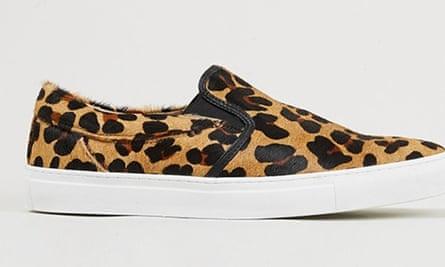 Leopard-print leather slip-on trainers, Topman, £65.