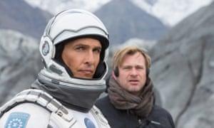 Christopher Nolan, right, on the set of Interstellar with the film's star Matthew McConaughey.