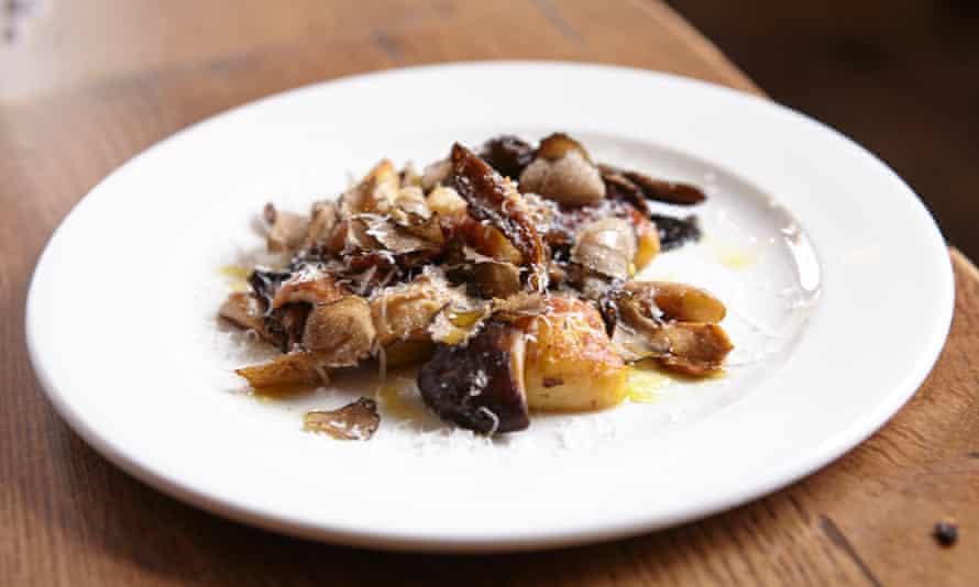 'Good if slightly dry': wild mushrooms and gnocchi.