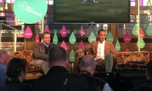 Rio Ferdinand on-stage at the Web Summit conference.