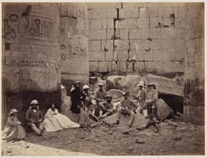 The Prince of Wales and party among ruins in Karnak in Thebes, Egypt, March 1862.