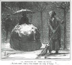 'My fair lady, shall I give you a quick brush?' Crinoline in Winter, from Winter Sketches, 1858