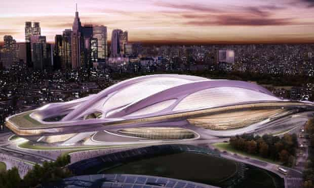 Zaha Hadid's original design for the Tokyo Olympic stadium, unveiled in 2012, which has since been scaled down by a quarter.