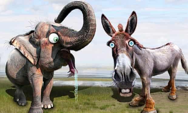 republican elephant democrat donkey cartoon