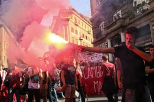 Students Protest in Rome An estimated 20,000 students protested in Rome on October 10 against Prime Minister Renzi proposed education reforms.