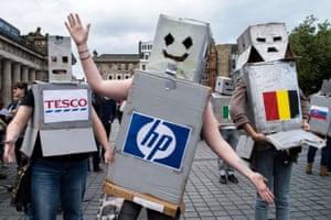 TTIP Protest, Edinburgh Robot flashmob, 11th October, Edinburgh.