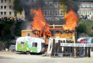 Squatter Protest in Hamburg Protest by squatters being evicted from Hamburg Harbour area (1989).