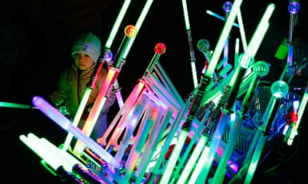 Novelty glow sticks for sale before a Bonfire night fireworks display at Roundwood Park in north-west London.