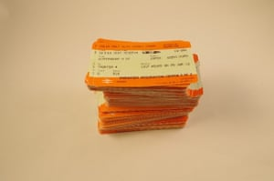 a collection of train tickets