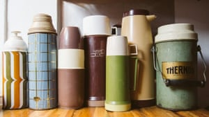 a collection of thermos flasks