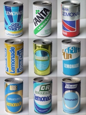a collection of early 80s soft drink cans