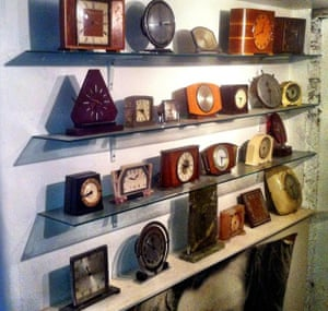 a collection of electric clocks