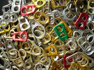 a collection of soft drink pull rings