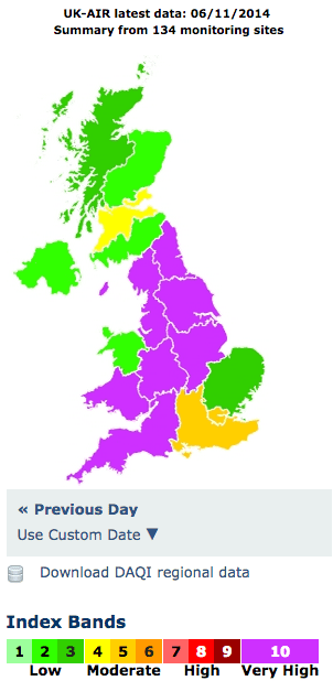 Air pollution levels 6 November