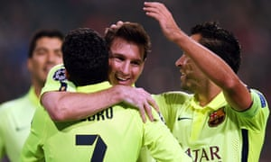 Lionel Messi celebrates scoring his 71st Champions League goal, in the win at Ajax