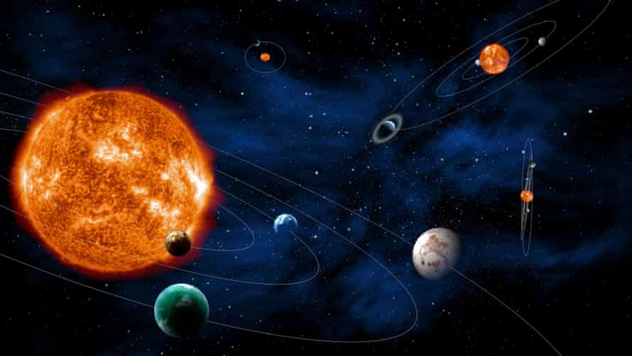 An artists impression of solar systems.