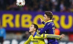 Eden Hazard in action against Luka Zahovic of Maribor