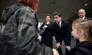 Labour leader Ed Miliband meets members of the public in Manchester