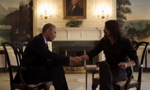 US president Barack Obama meets Grohl for the series.