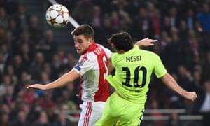 Lionel Messi scores against Ajax