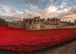 """Tower of London installation  """"Blood sept Lands and Seas of Red"""" shot on 4 November 2014"""