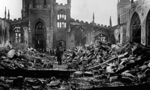 The ruins of Coventry Cathedral after the medieval building was destroyed by Luftwaffe bombs during the 'Baedecker raids' of the second world war in November 1940.