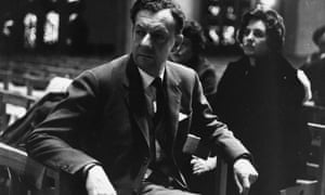 Britten (with soprano Heather Harper behind him) in Coventry Cathedral for the first performance of his War Requiem.