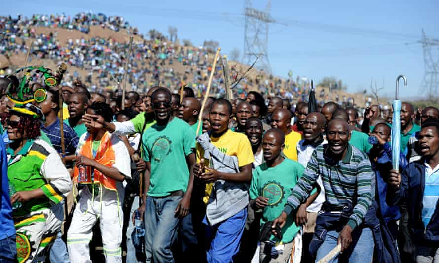 Co-workers and relatives of miners killed at Marikana