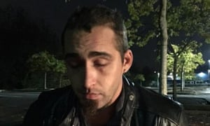 David Kalac after his arrest by police officers. He is alleged to have strangled Coplin, 33, with a shoelace on Tuesday afternoon.