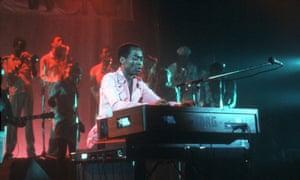 Fela Kuti playing at Brixton Academy, in November 1983.