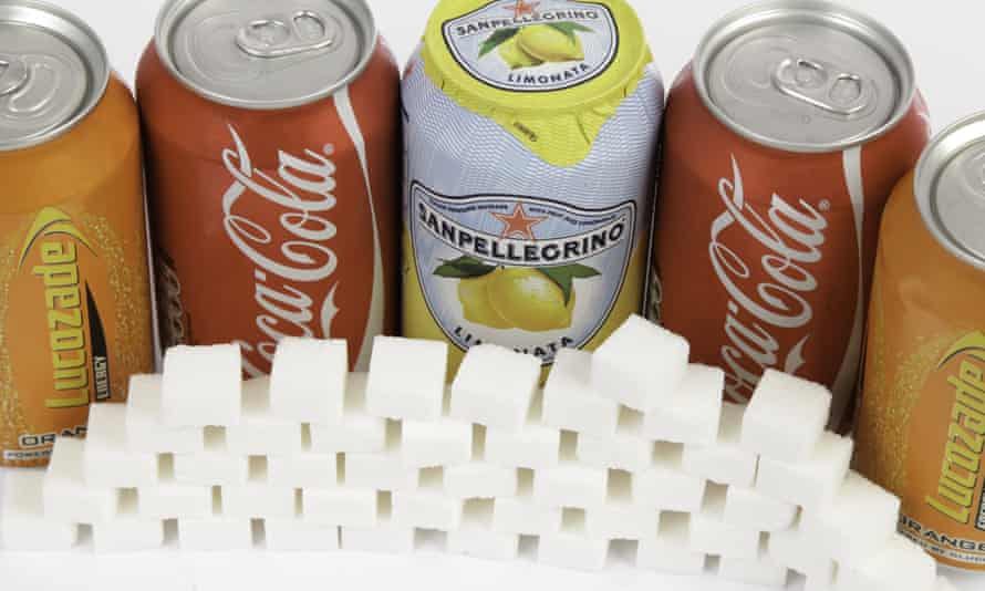 Five cans of soda contain 185.6g of sugar – the equivalent of 46 sugar cubes, according to their own labels.