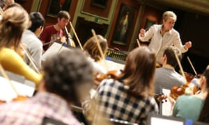 Marin Alsop rehearsing with Royal Academy students