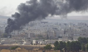 Fighting in Kobani, where Mehdi Hassan is said to have been killed.