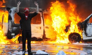 Burning car Brussels