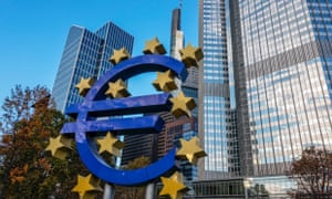Euro symbol in front of European Central Bank Headquarters, in Willy Brandt Platz, Frankfurt.