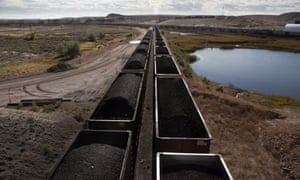 Everyday about 21 trains filled with coal leave Peabody's North Antelope Rochelle Mine in Wyoming, which is one of the biggest surface mines in the world.