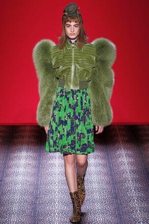 A model walks the runway during the Schiaparelli show at Paris Fashion Week