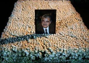 A portrait of slain Lebanese Prime Minister Rafik Hariri.